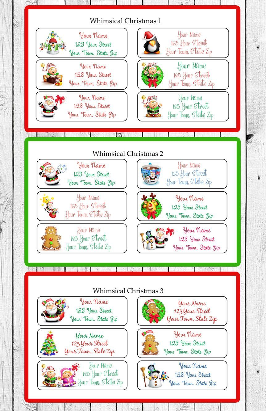 personalized christmas labels whimsical designs return address