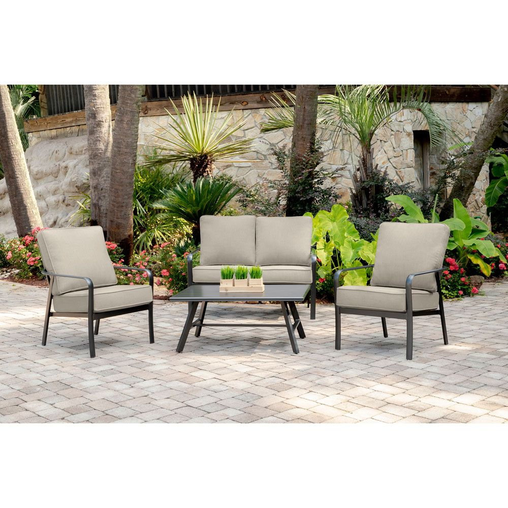 cortino 4 piece commercial grade patio seating set with 2 cushioned rh pinterest com