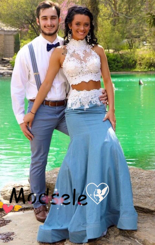 Gorgeous prom dress two piece prom dress blue prom dress with