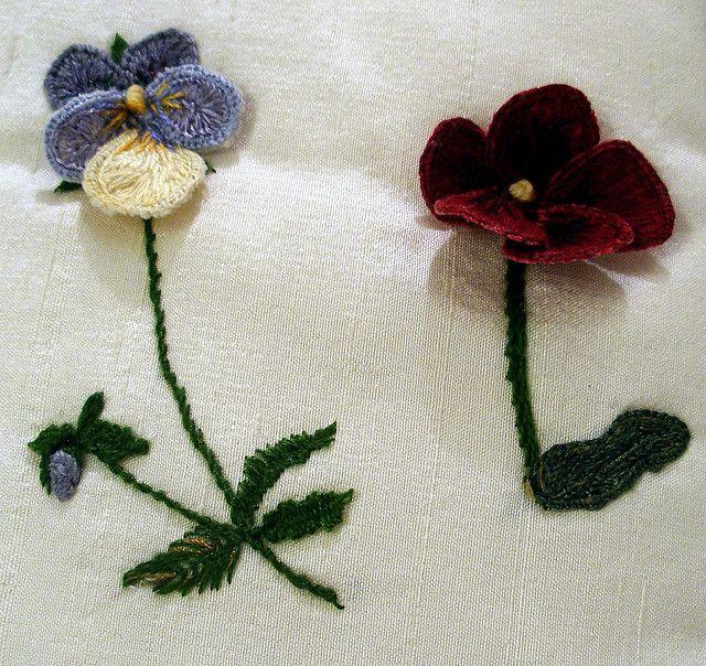 Stumpwork violets