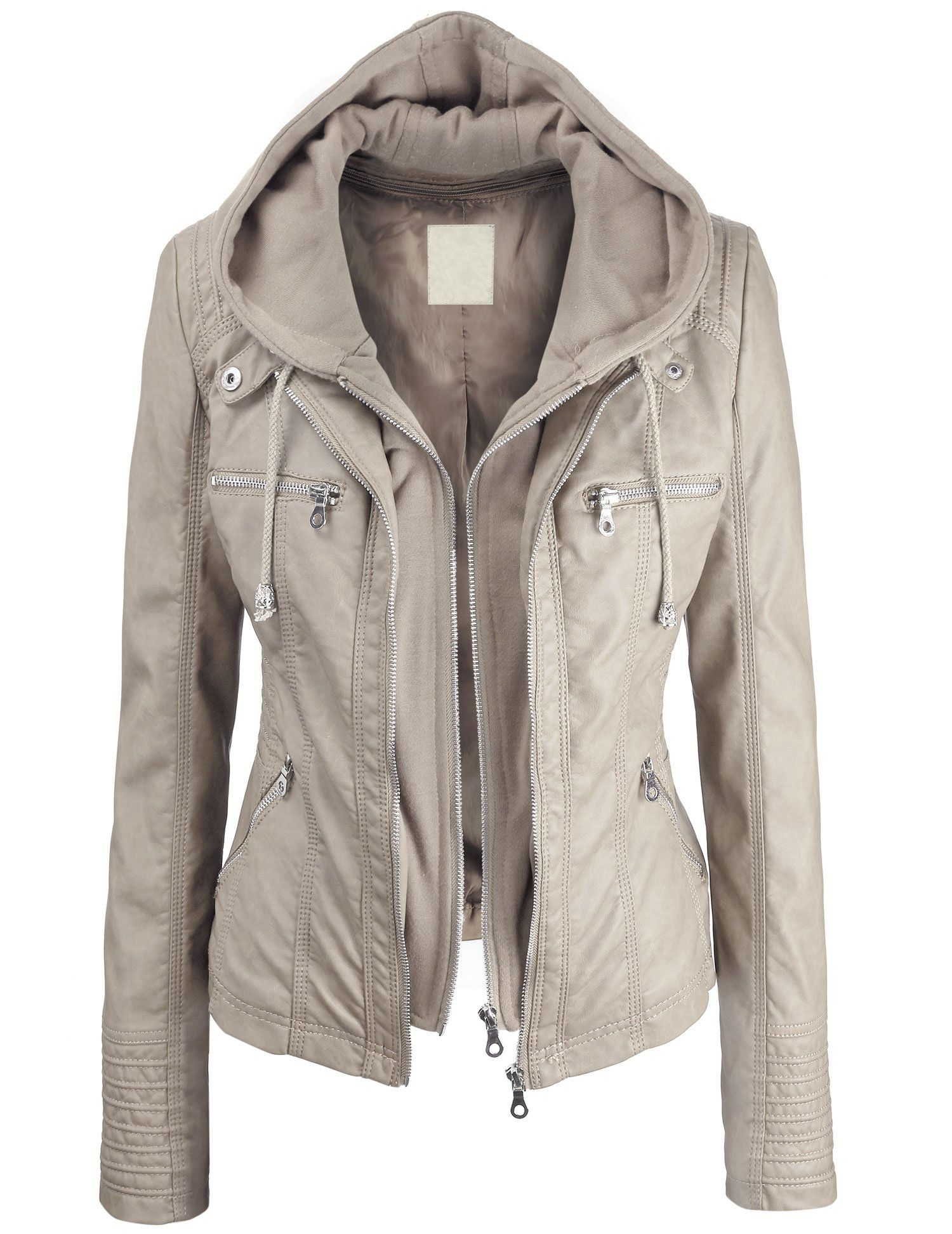 Lock and Love Women's Removable Hoodie Motorcyle Jacket XS
