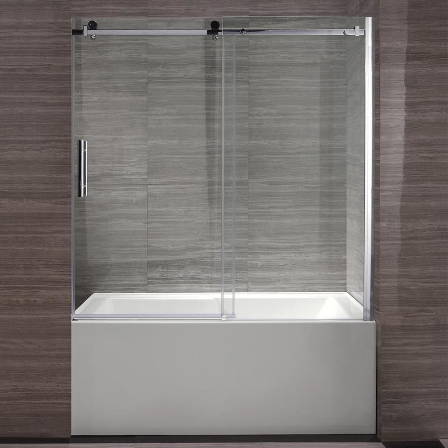Ove Decors Zola 58 25 In To 59 75 In W Frameless Bypass Sliding Polished Chrome Bathtub Door Zola Cht In 2020 Bathtub Doors Tub Doors Frameless Bathtub Doors
