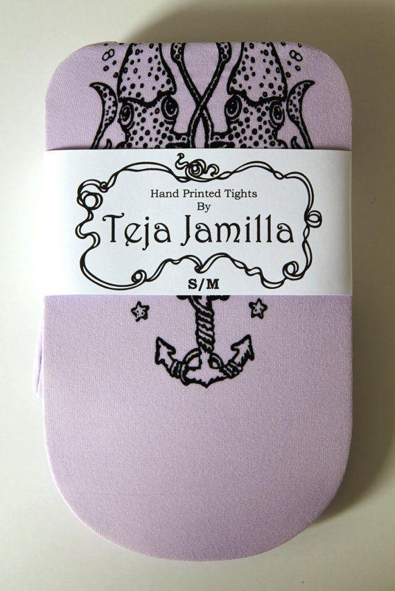 Narwhal Printed Tattoo Tights Pastel Black on Lilac by TejaJamilla