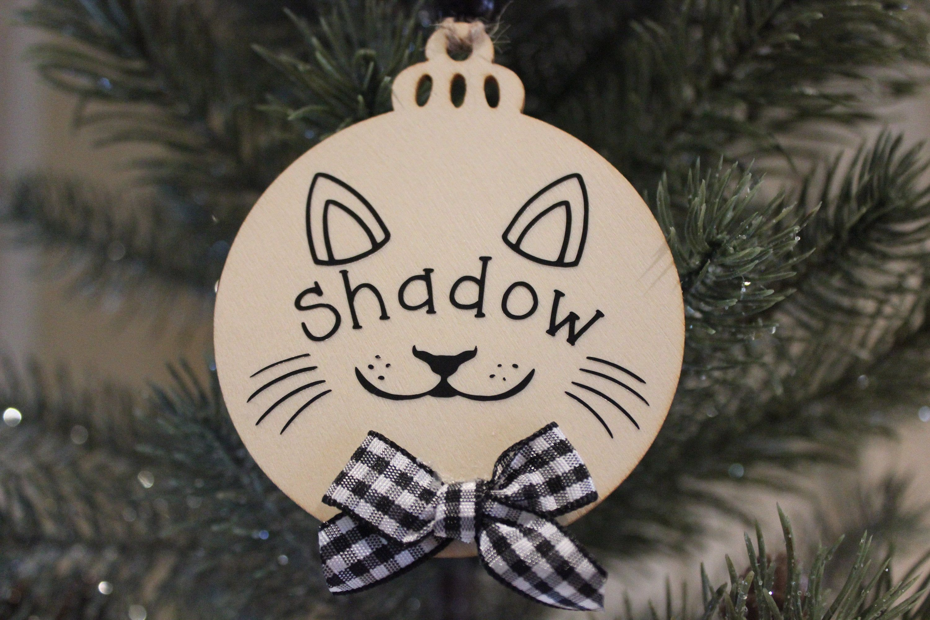 """""""The ornament is made of a natural wood, heat transfer vinyl, ribbon, wooden beads, and lots of love:). They are 3.54\"""" x 2.87\"""" and 2.5 mm thick. They come with jute twine string for easy hanging. All ornaments will come in a decorative bag for easy gift giving. *DISCLAIMERS* This is not a toy. For decoration only."""""""