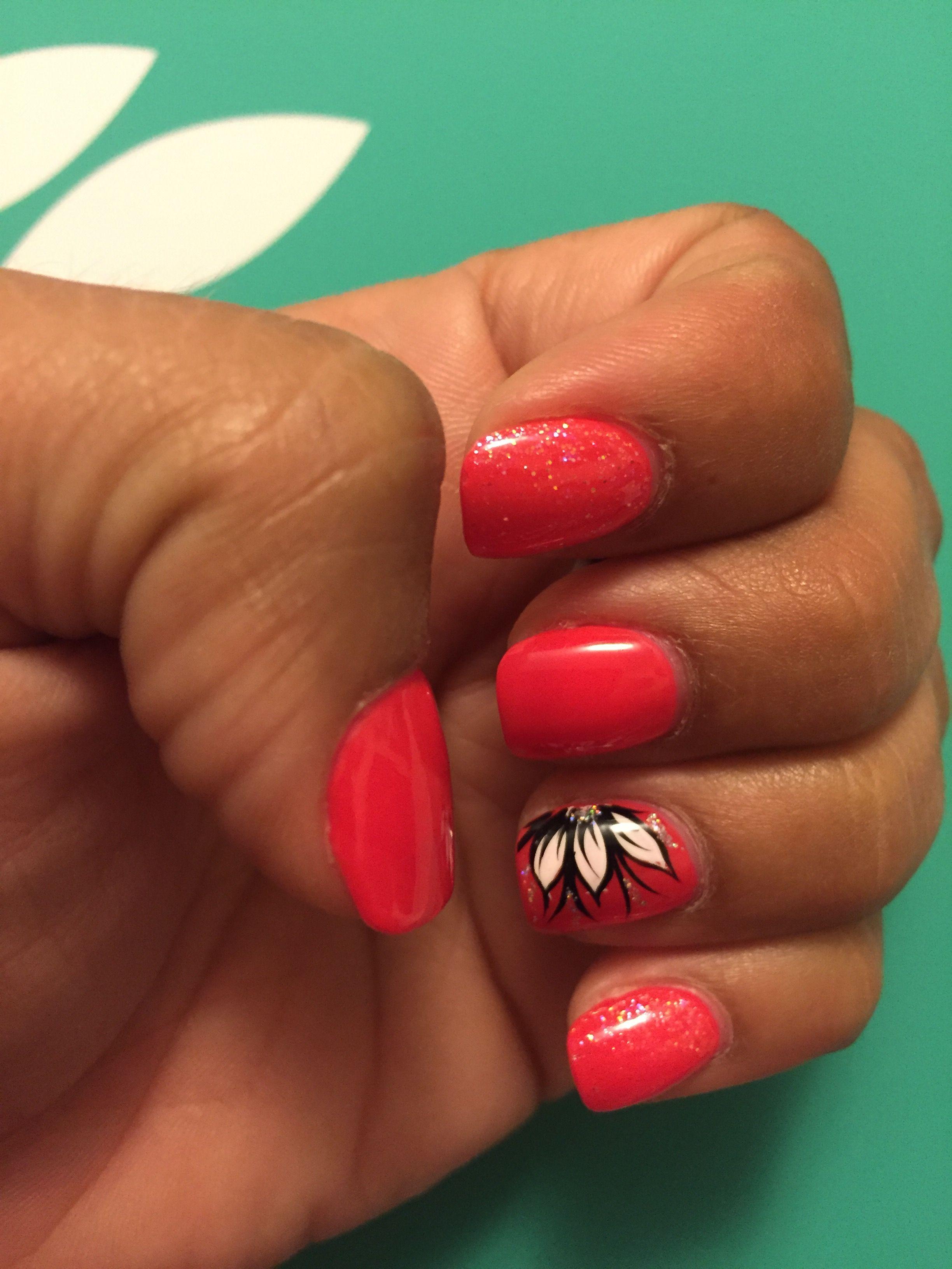 Red Black White Flower Nail Design Matching Nails Pinterest