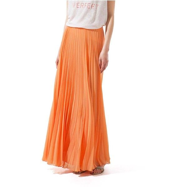 902c42b5df1f3 Yoins Yoins Orange Chiffon Pleated Maxi Skirt ($25) ❤ liked on Polyvore  featuring skirts