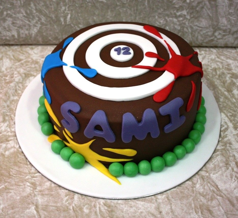 Pleasing Paintball Cake Birthday Cards Printable Riciscafe Filternl