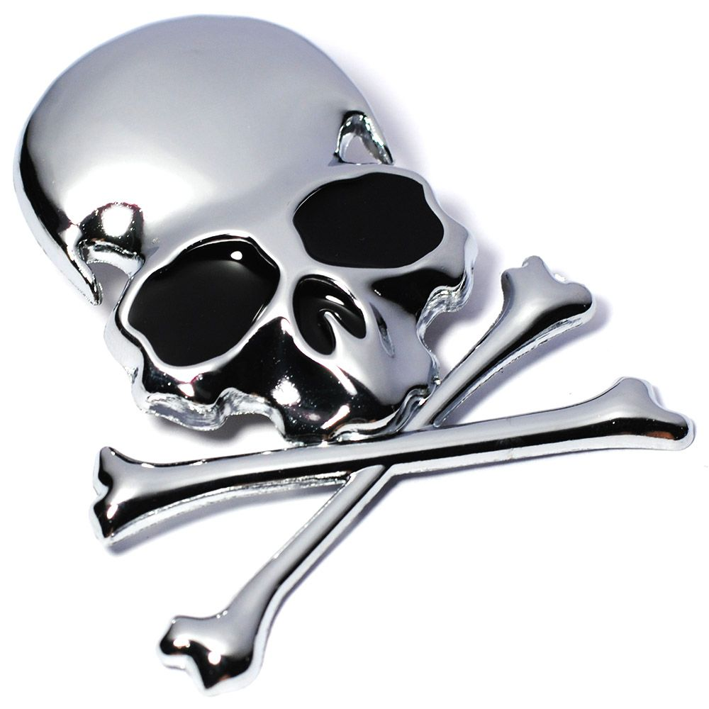1 Gold 3D Metal Silver Skull Crossbones Car Sticker Window Styling Decal Chrome