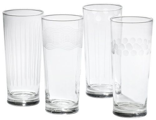 Mikasa Cheers Too 19-3/4-Ounce Highball Glass, Set of 4 by Mikasa. $45.88. Designs include lollipop lines, vertical stripes, fine waves, and frosted dots. Blends with other Cheers Too pieces as well as original Cheers designs. Crafted from leaded clear glass with a variety of playful etched patterns. Packaged in gift box; washing by hand recommended. Set of 4 highball glasses in the Cheers Too beverage line; 19-3/4-ounce capacity. Amazon.com                An extensi...