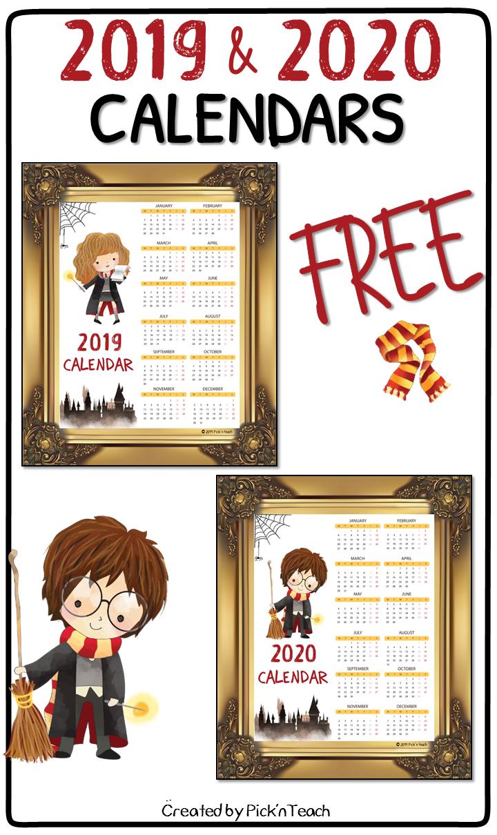 Free 2019 2020 Calendar For Harry Potter Fans Classroom Decor Harry Potter Calendar Harry Potter Planner Harry Potter Printables