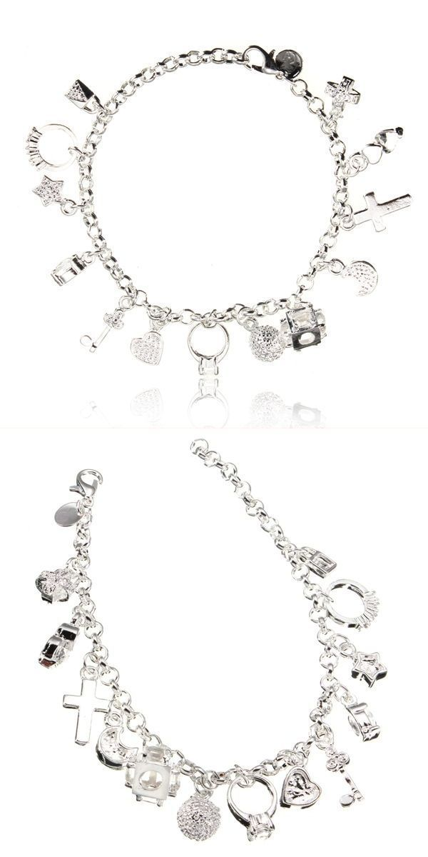 925 Silver Plated Cross Heart Moon Star Pendant Bracelet For Women