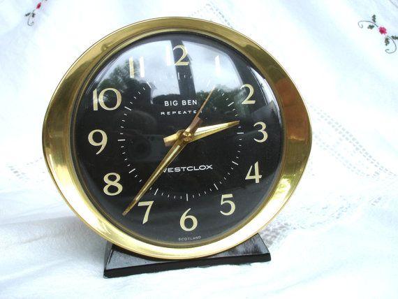 Big Ben ... Leaning Tower of London...  1970s Westclox Big Ben Repeater Alarm Clock Black by FillyGumbo, $50.00