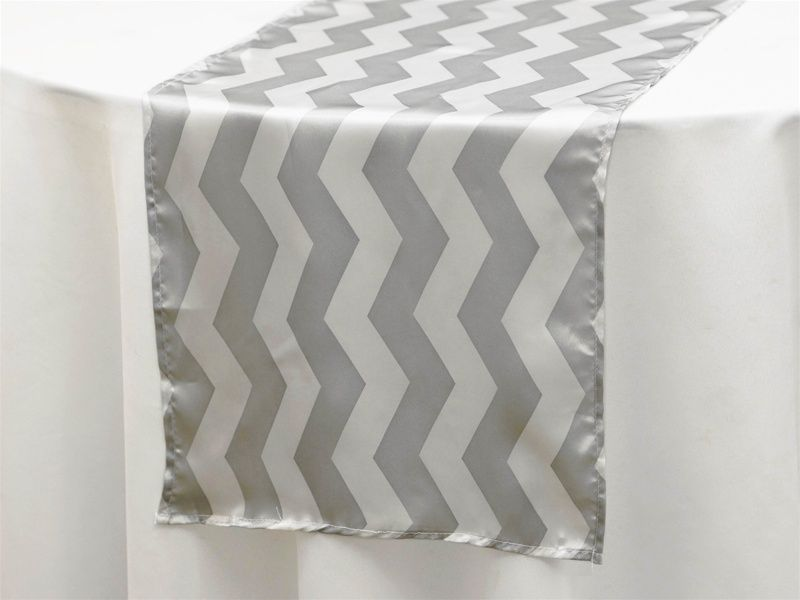 Beautiful Jazzed Up Chevron Table Runners   White / Silver   Tablecloths Factory At  2.87 Ea.