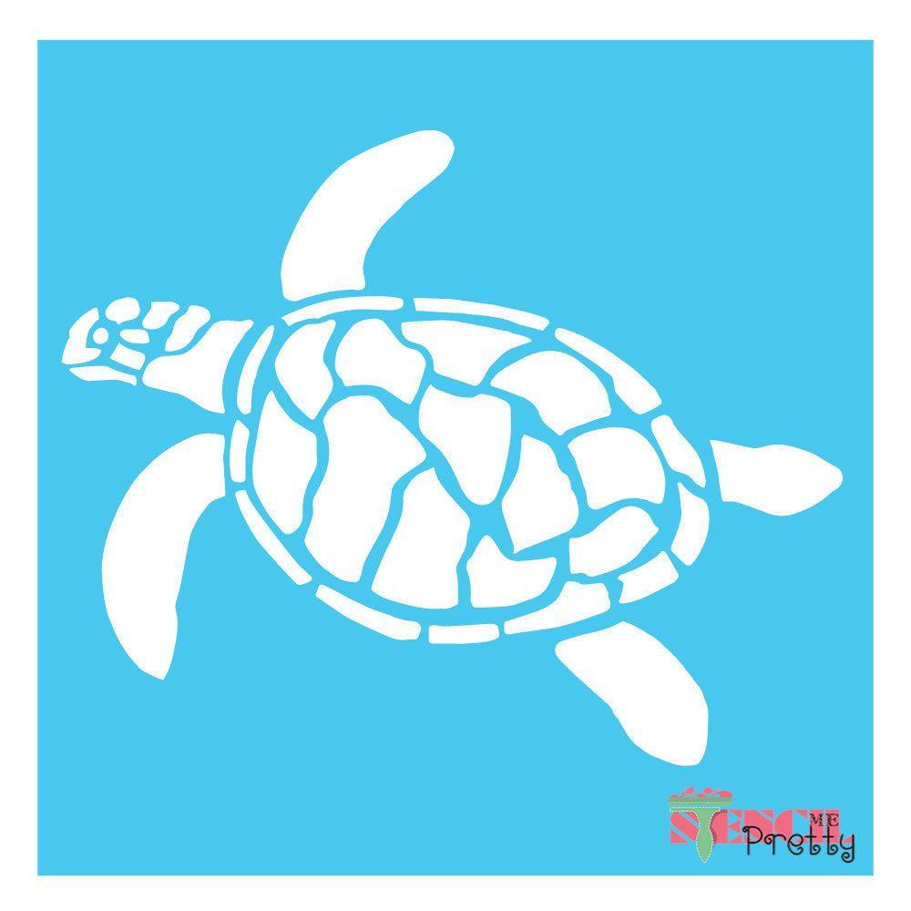 Turtle Stencil Sealife Ocean Sand Beach Animal Tortoise Wall Art Tattoo U Paint