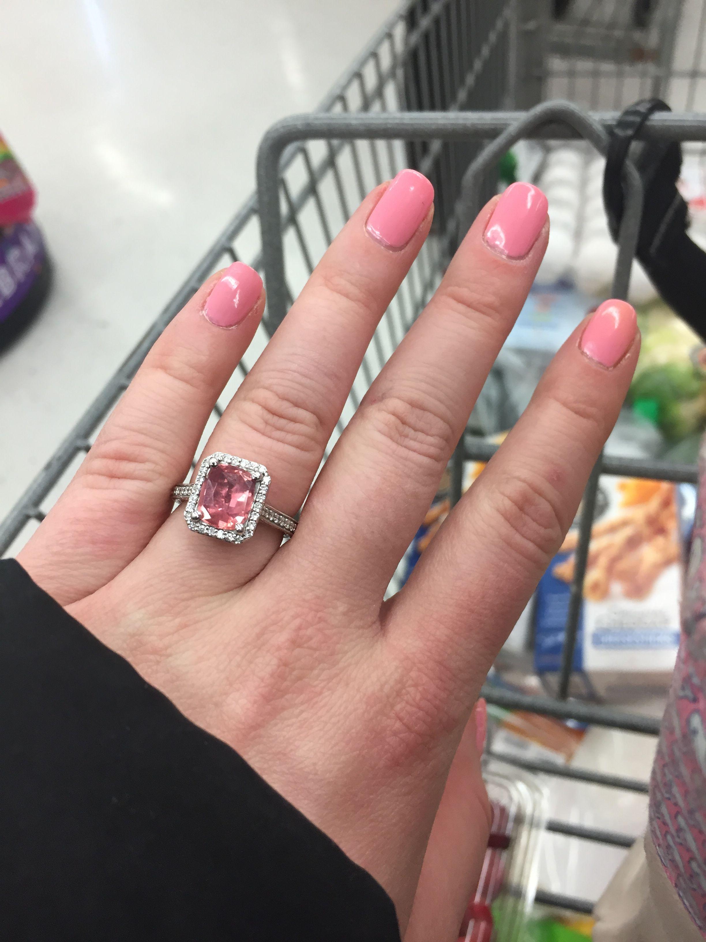 Padparadscha sapphire engagement ring carats cushion cut