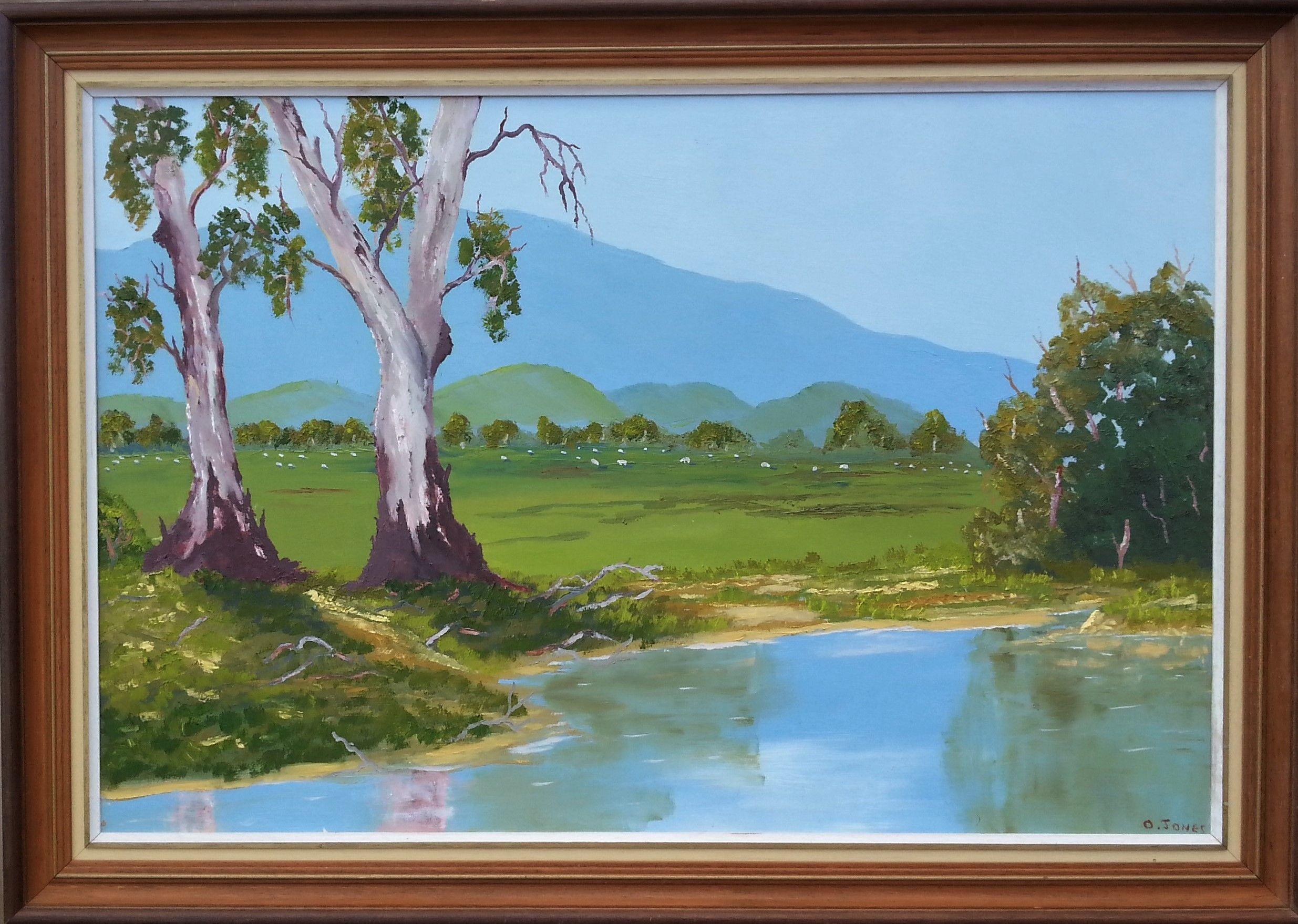 Gum Trees by the Waterhole. Framed Online art gallery