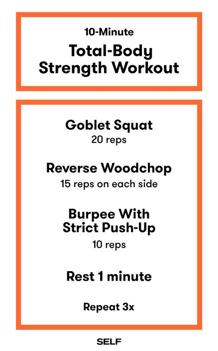 This is a no-frills format that delivers everything you need in a time-efficient circuit because it takes all of the guesswork out of the equation (and will save you time). Here's one of our favorite 10-minute total-body strength workouts.