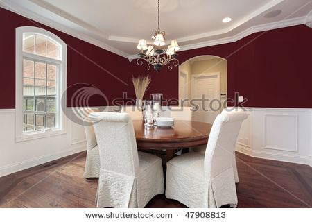 dark red walls with wainscoting in dining room for the home rh pinterest com