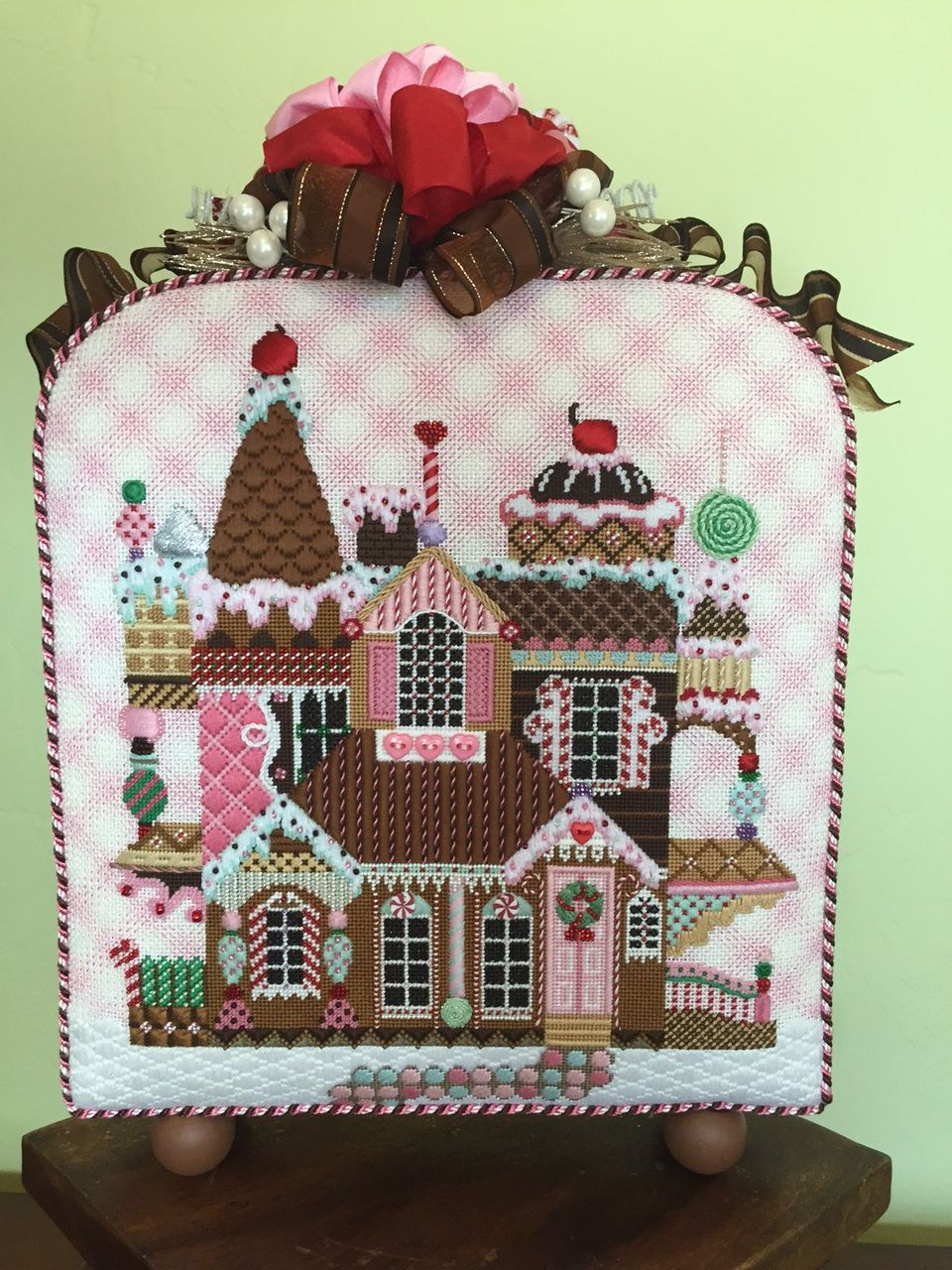 Gingerbread house by Shelly Tribbey. Stitch guide by the best: Susan Portra. One of my favorites. Elegant whimsey. Fabulous finishing by Marlene's Custom Pillows in SF.
