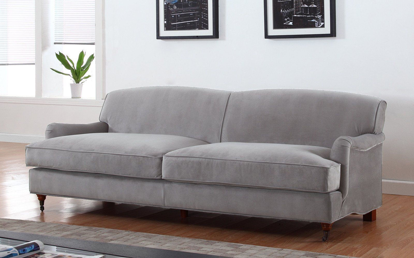 caster mid century modern microfiber sofa in grey eastover cottage rh pinterest co uk
