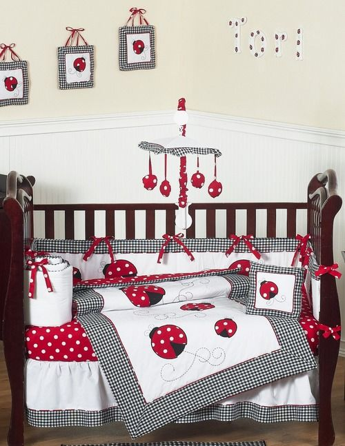 Red White Ladybug Polka Dot Baby Bedding And 9pc Set By Jojo Designs