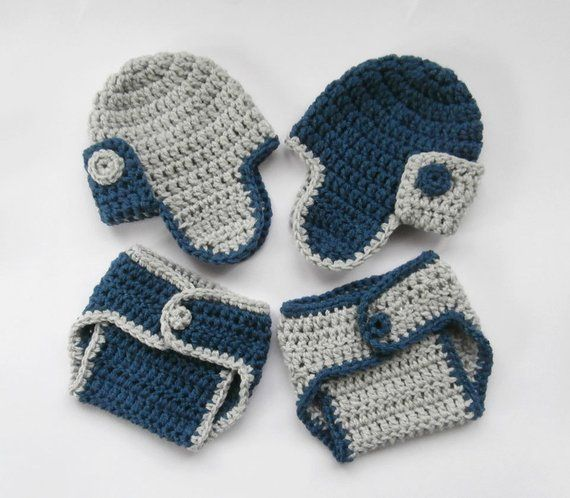 29e35c0b521f ON 10% SALE Newborn Twin Outfits - Baby Boy Twin Crochet Outfits - Crochet  Hats and Diaper Covers fo