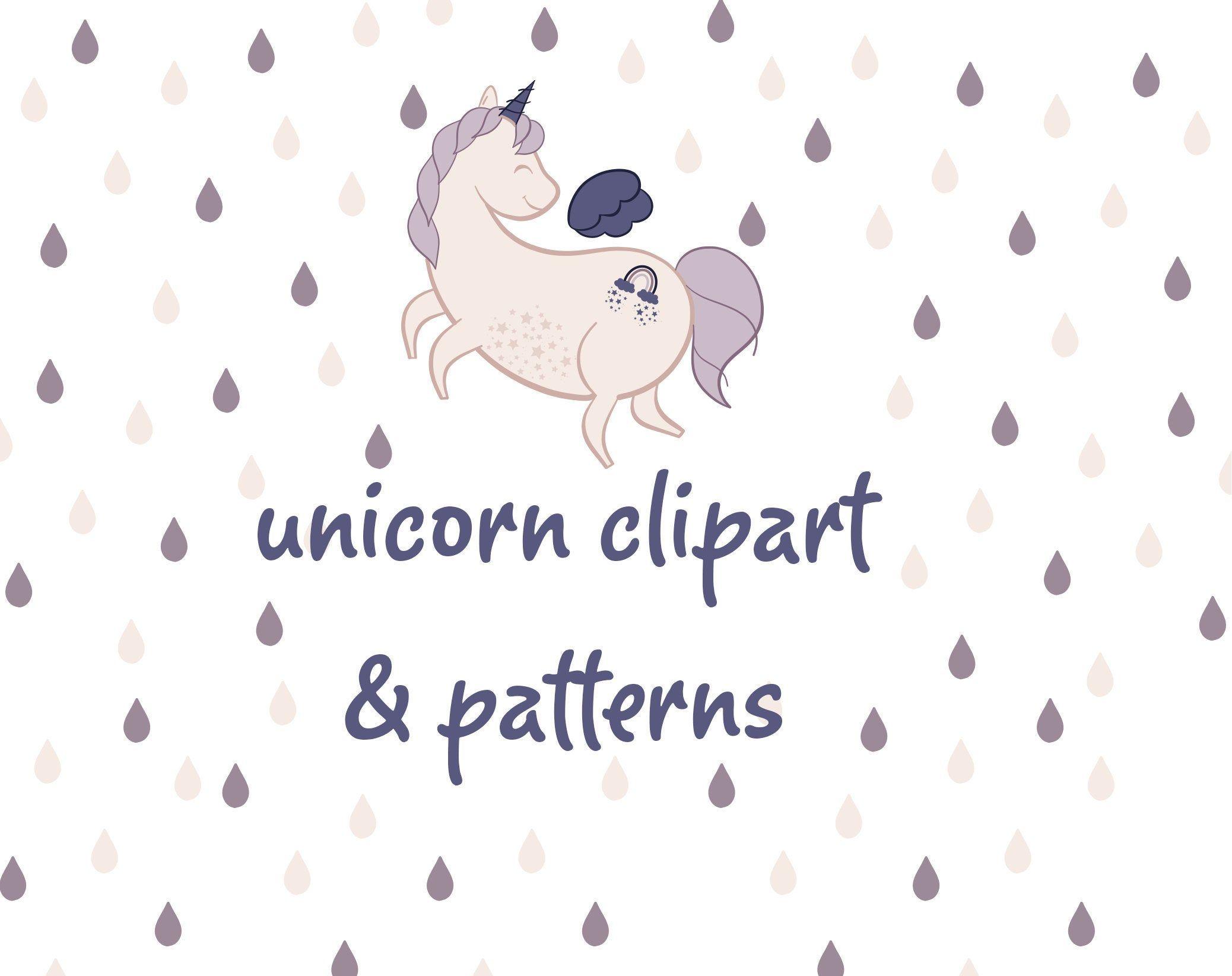 Rainbow Unicorn Clipart And Seamless Patterns Eps Ai Vector Etsy In 2020 Clip Art Unicorns Clipart Rainbow Unicorn