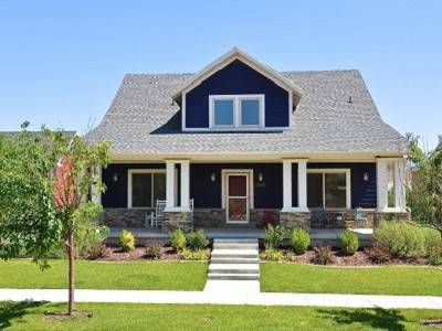 Best Navy Blue Exterior With White Trim And Rock Accents 400 x 300