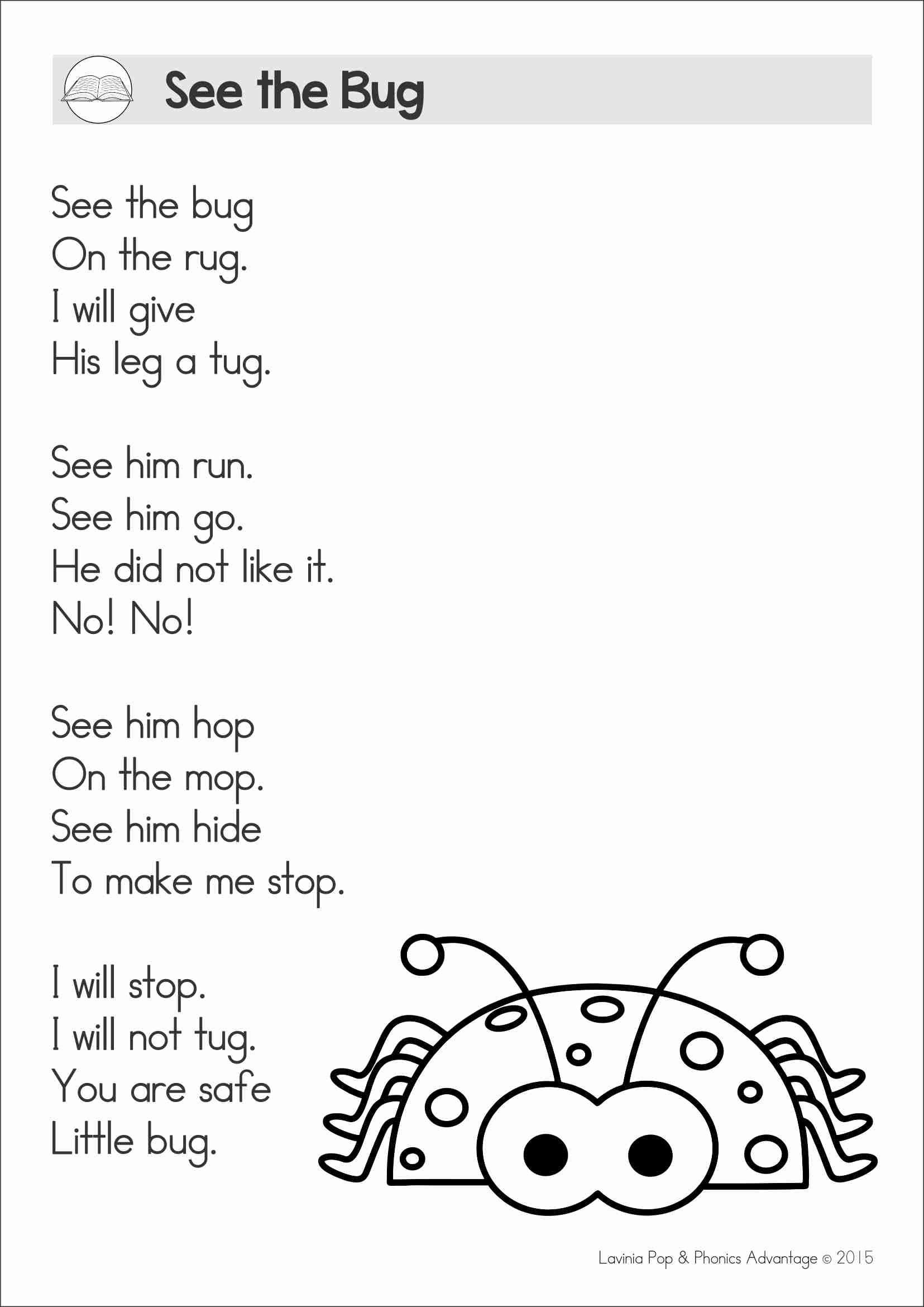 Reading Comprehension Fluency Phonics Poems