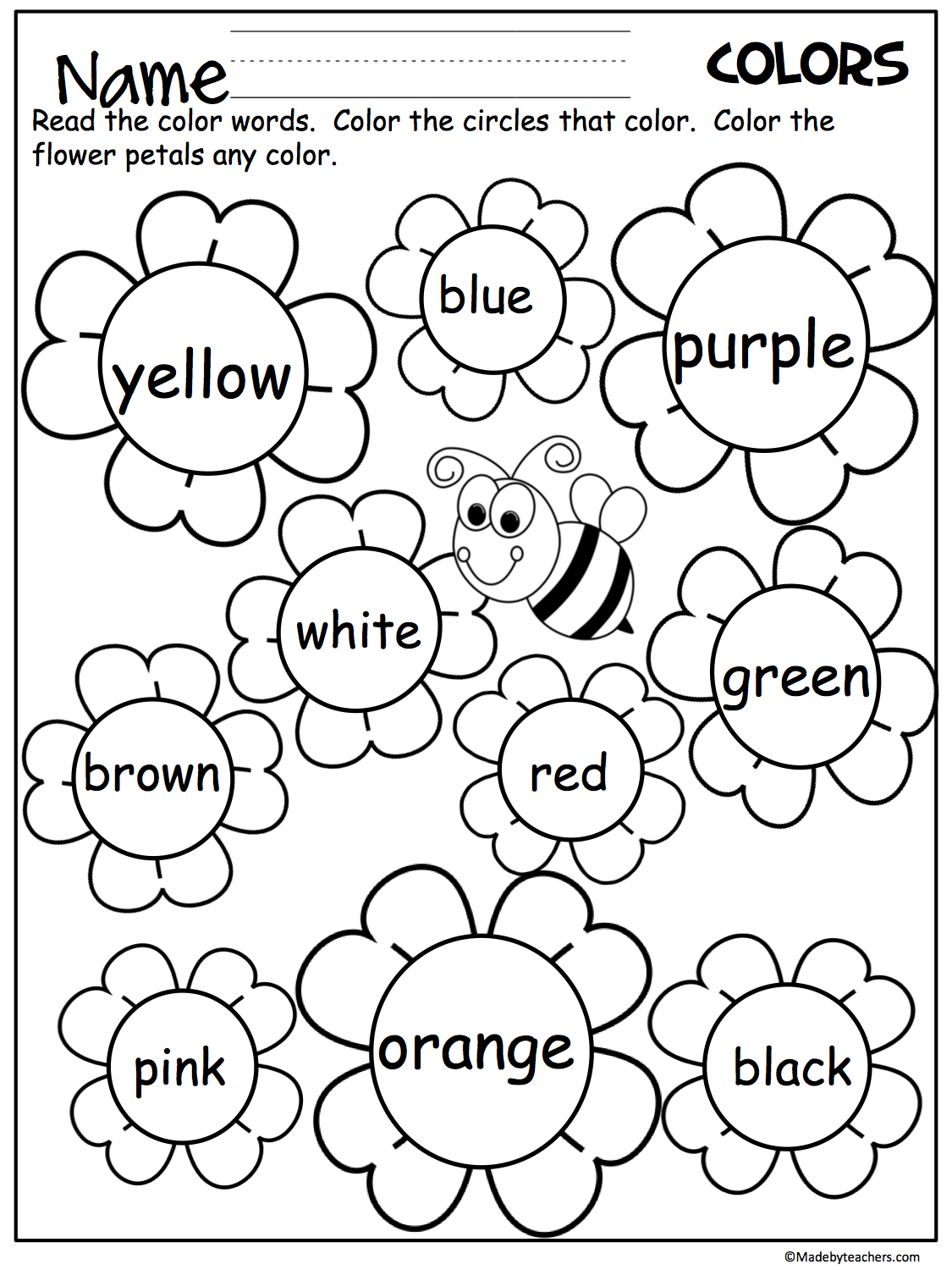 Flower Color Words Worksheet Teaching colors