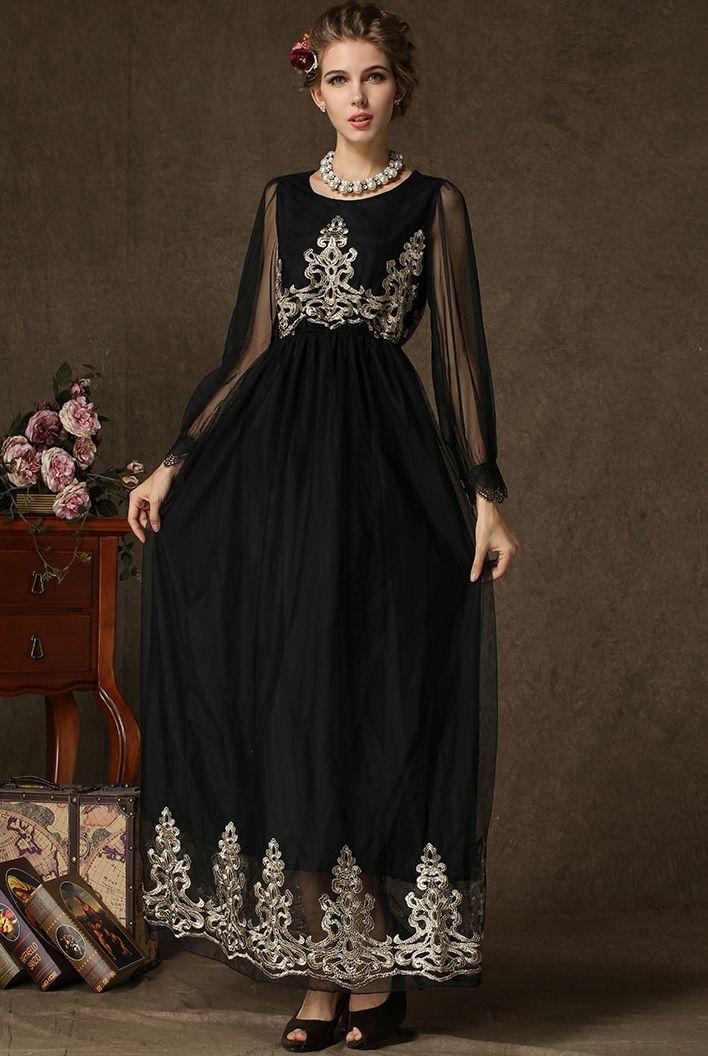 a3e592be9 Vestido gasa bordado manga larga-negro 24.70