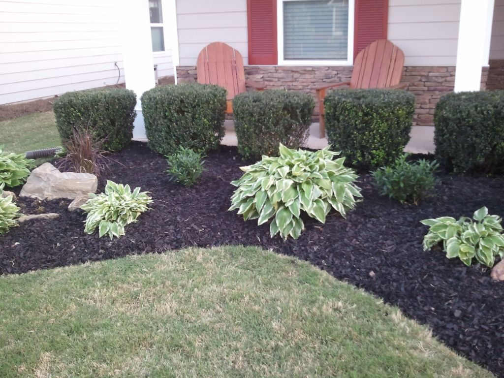 Pictures of flower beds in front of house pine straw or for Flower bed in front of house