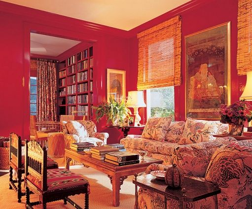 Red Repeated Floral On Sofa Chairs Living Room Orange Red