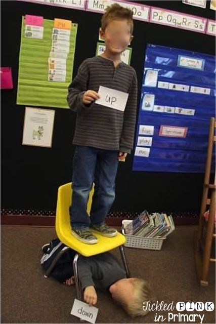 Students learn positional words by acting them out. Grab a ...