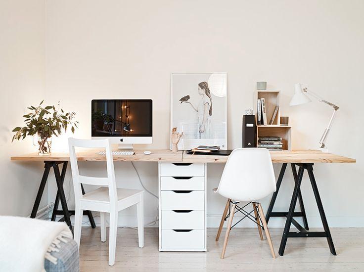 Un bureau pour deux planche sur tréteaux diseño de interior