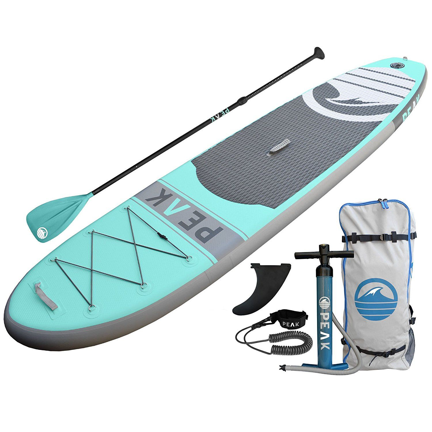 Amazon Com Peak Inflatable Stand Up Paddle Board With Adjustable Paddle Travel Backpack And Inflatable Paddle Board Standup Paddle Paddle Board Accessories