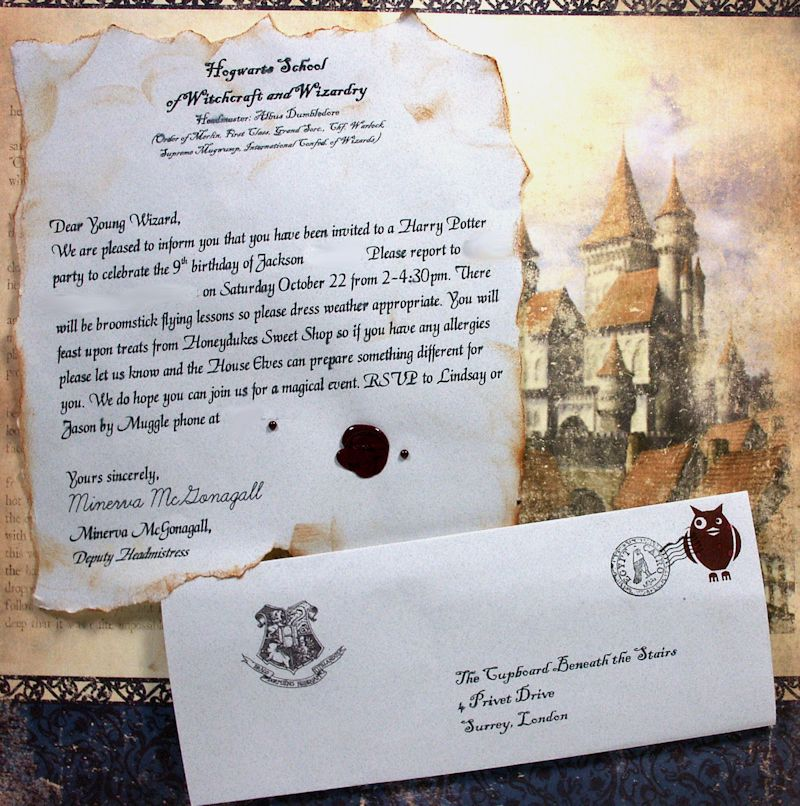bday party invitation mail%0A Hogwarts   acceptance letter   invitation for Harry Potter birthday party   Barber  i mean  maybe we u    re too old for birthday party invitations  but if  you sent