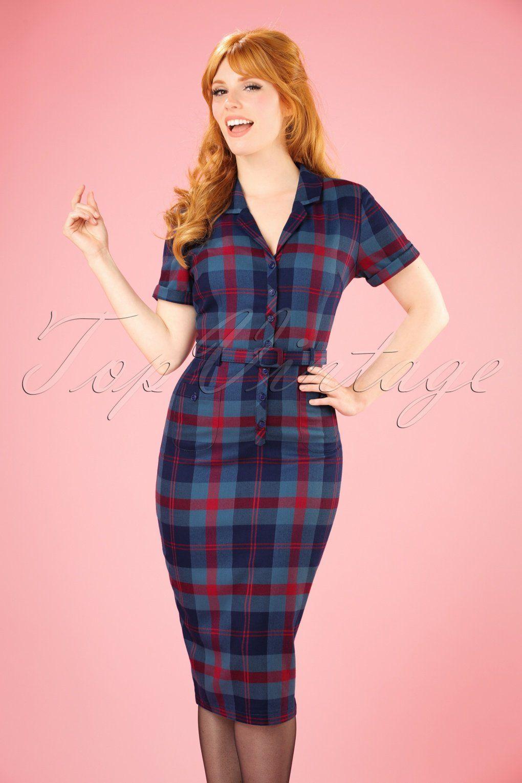 b36ee117120c Eindeloos combineren verzekerd met deze 50s Caterina Merida Check Pencil  Dress in Blue and Red!