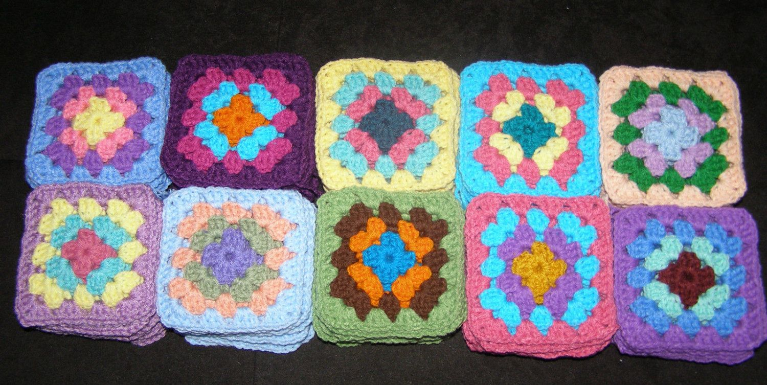 100 Crochet Granny Square Blocks for Afghan - Multicolored - 5 X 5 inches by Isabellarts on Etsy