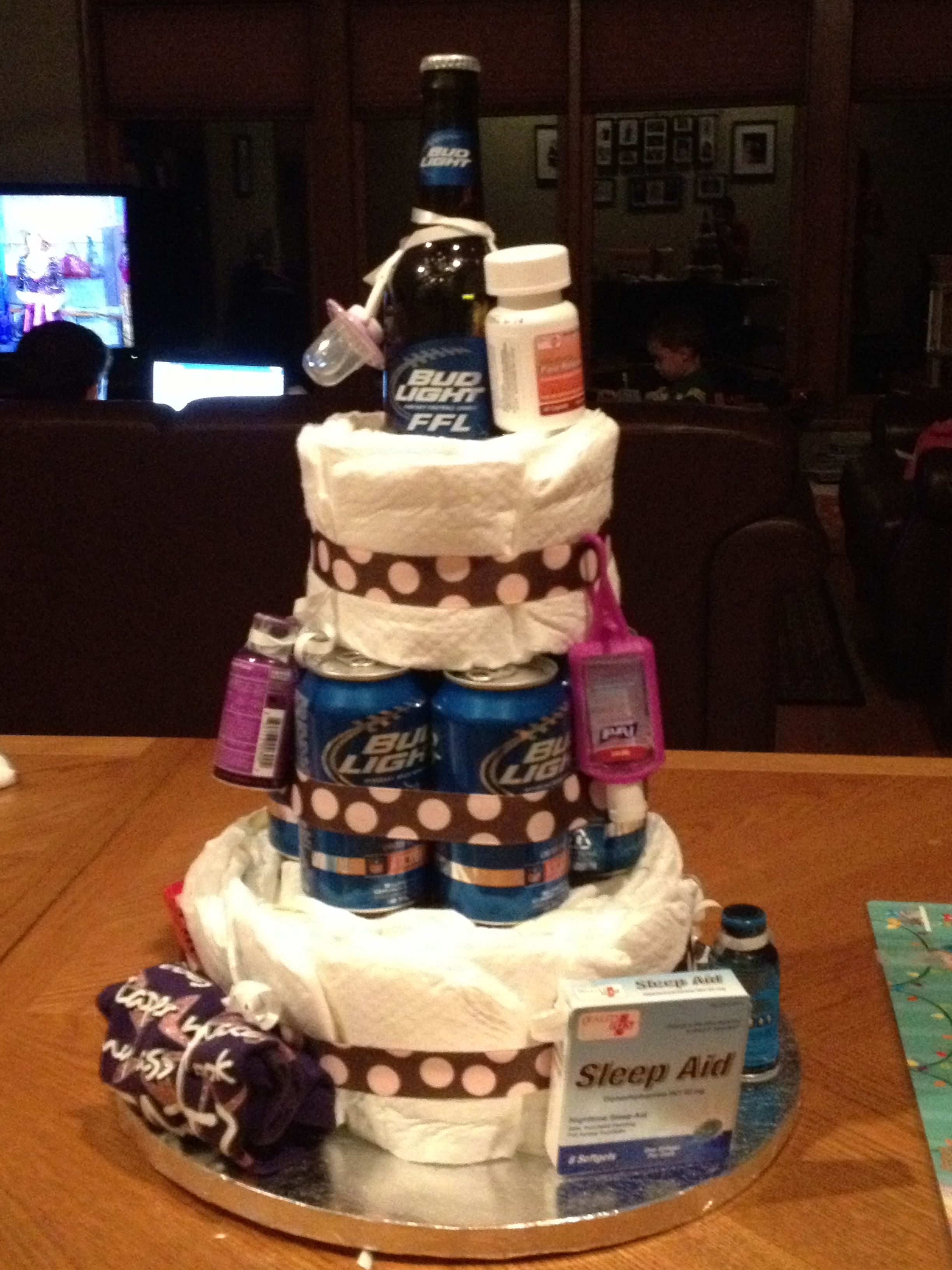Diaper Cake For New Dad With Images Baby Shower Dad Beer Baby