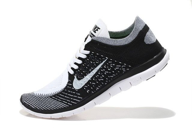 Nike Free 4.0 Flyknit Women Black Grey White Running Shoes