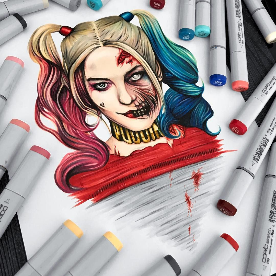 I Guess Harley Wants To Be A Zombie For Halloween Harleyquinn Suicidesquad Copic Copic Marker Art Marker Art Art Inspiration Drawing