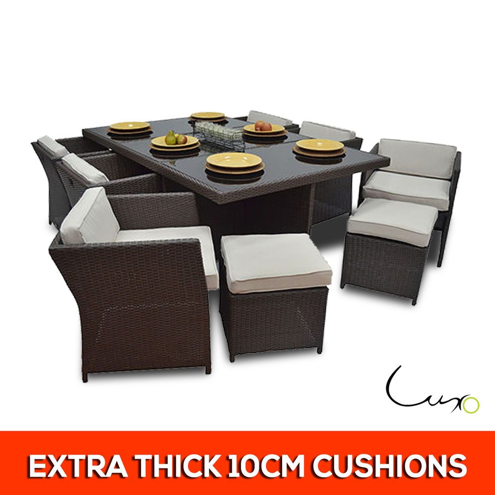 Luxo Brown Luna 13 Pc 12 Seater Pe Wicker Outdoor Dining Table  # Muebles Luan Arbo