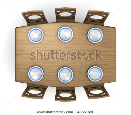 Table And Chairs Clipart Top Down View Of A Dinner Table And Chairs With Plates Isolated On Dinner Table Chairs Dinner Table Table And Chairs