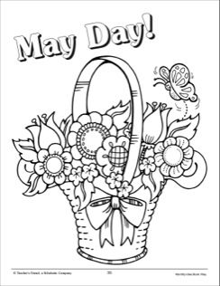 May Day Coloring Page May Day Baskets May Crafts Birthday
