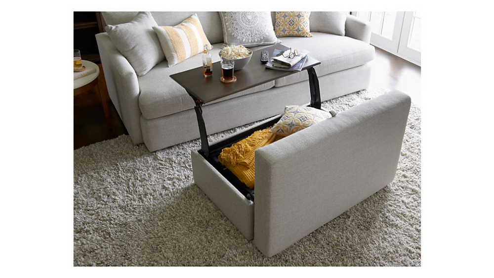 Lounge Ii Storage Ottoman With Tray Interior Home Living Room