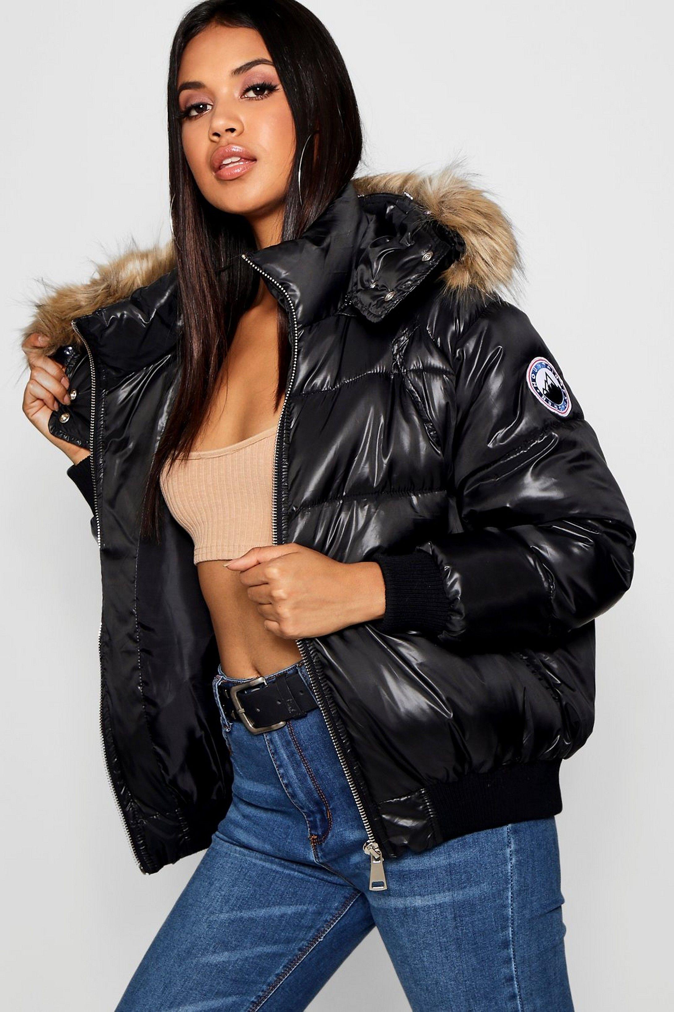 Faux Fur Trim Cire Puffer Jacket Boohoo Puffer Coat With Fur Puffer Jacket Women Bubble Coat [ 3272 x 2181 Pixel ]