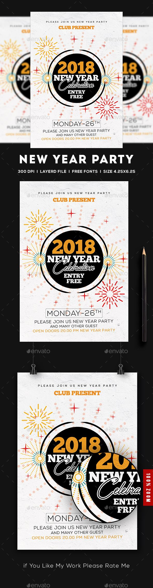 2018 New Year Flyer | Event flyers, Flyer template and Party flyer