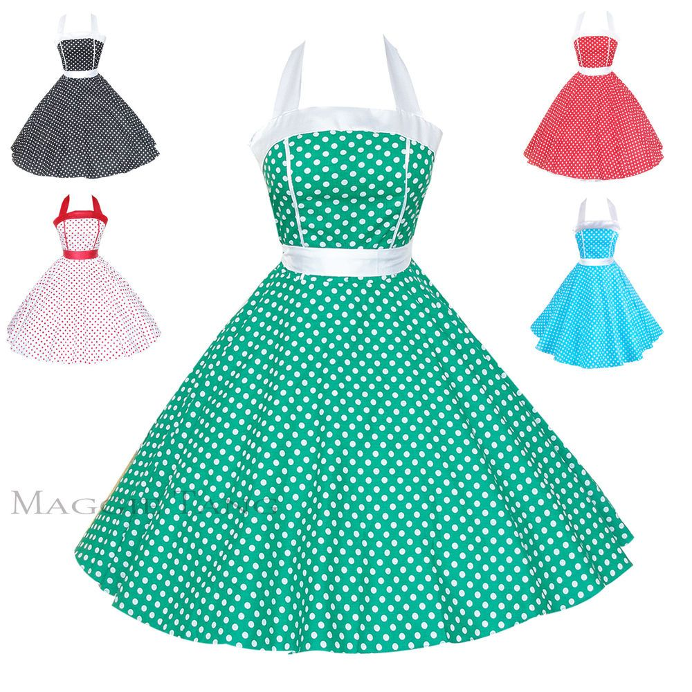 Maggie Tang 50s VTG Pinup Polka Dots Rockabilly Costum Party Swing Dress S-505 #Dresses