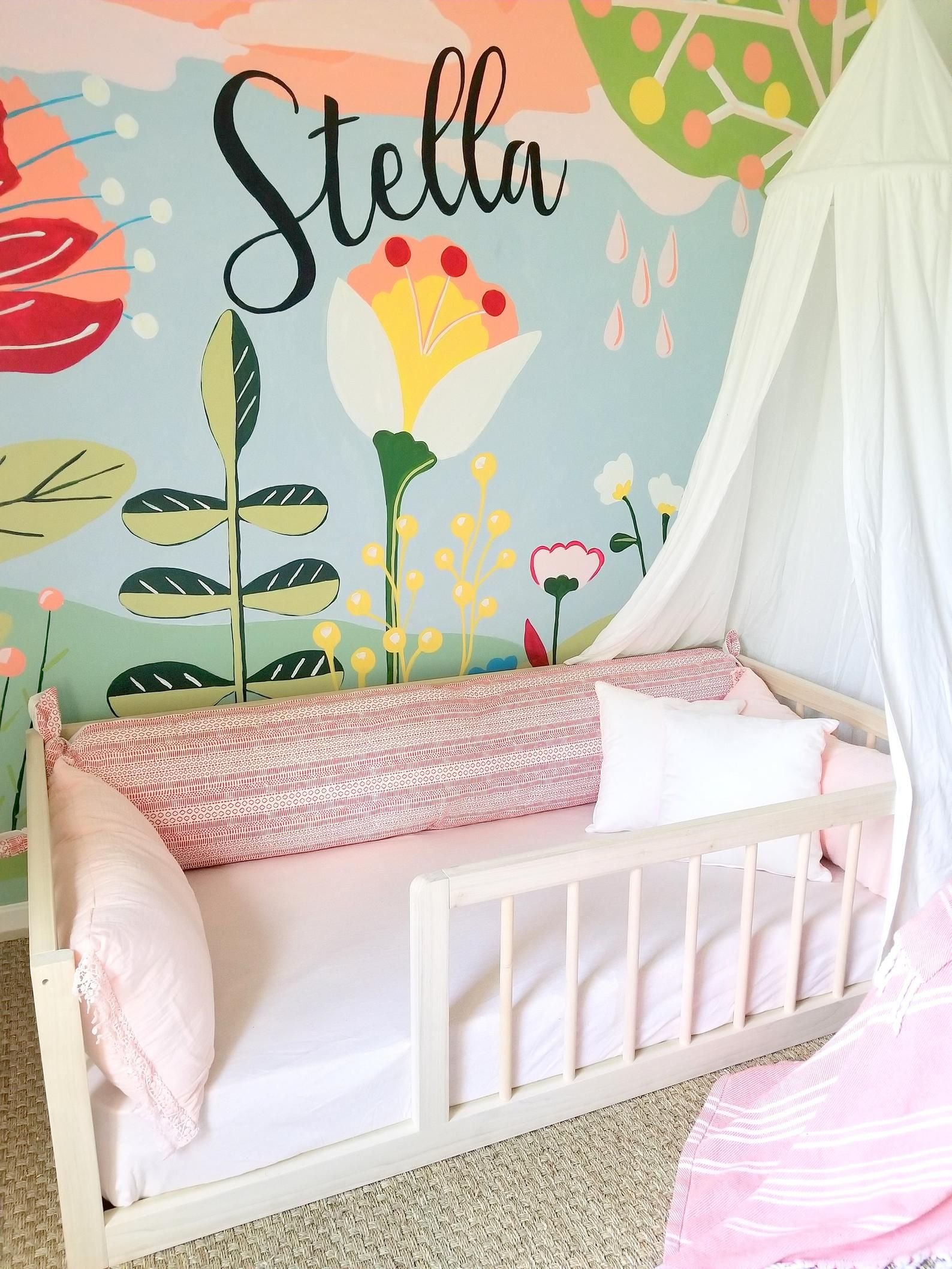 Montessori Floor Bed With Rails & slats Twin Size (With